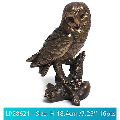 Beautiful Sculptured Reflection Bronze Effect Owl Figurine   Bird Of Prey