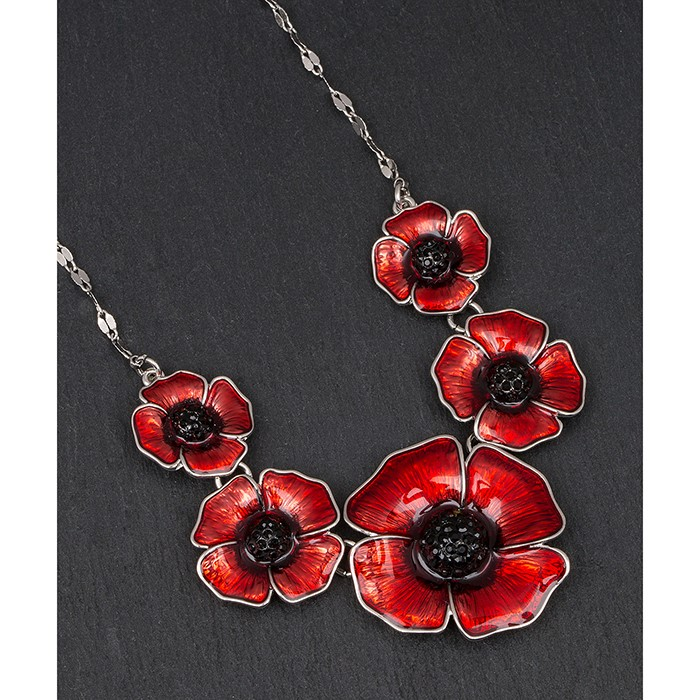 equilibrium Womens Poppy Remembrance Necklace Pendant Jewellery Collection